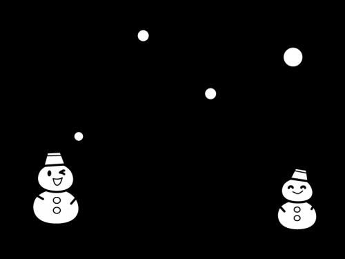 1月タイトル・雪だるまの白黒イラスト