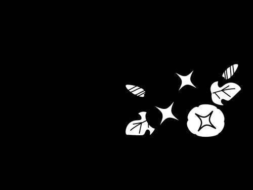 7月タイトル・あさがおの白黒イラスト