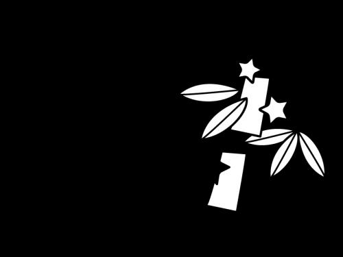 7月タイトル・七夕の白黒イラスト02