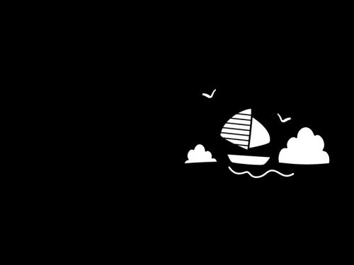 7月タイトル・海とヨットの白黒イラスト