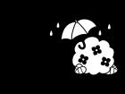 6月タイトル・梅雨と紫陽花の白黒イラスト