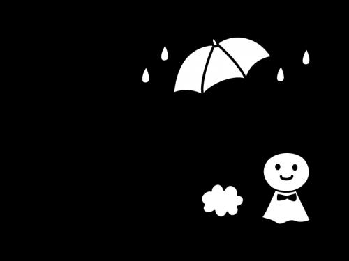 6月タイトルてるてる坊主と梅雨の白黒イラスト かわいい無料の白黒