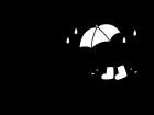 6月タイトル・梅雨の白黒イラスト