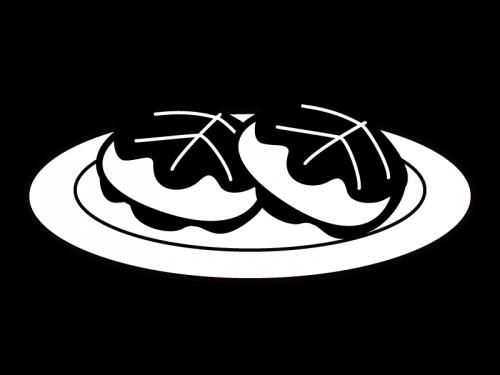 子供の日・柏餅の白黒イラスト02
