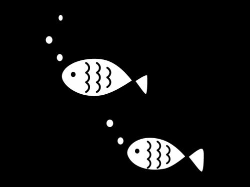 かわいい魚の白黒イラスト02