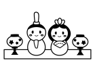 かわいいひな祭りの白黒イラスト