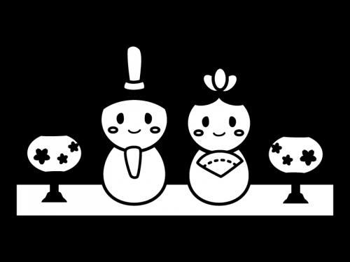 かわいいひな祭りの白黒イラスト かわいい無料の白黒イラスト モノぽっと