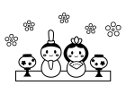 かわいいひな祭りの白黒イラスト02