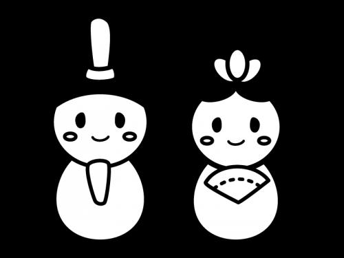 かわいいひな祭りの白黒イラスト03 かわいい無料の白黒イラスト モノぽっと