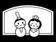 かわいいひな祭りの白黒イラスト04