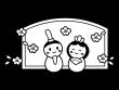かわいいひな祭りの白黒イラスト05