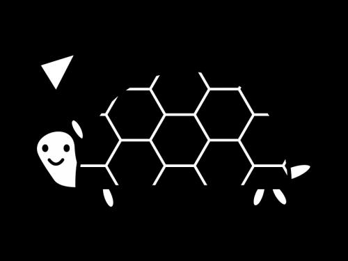 かわいい亀の白黒イラスト02