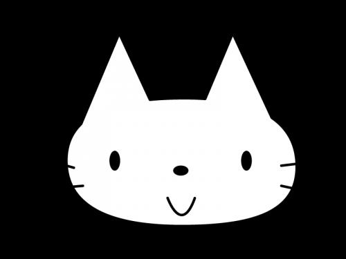 かわいい猫の白黒イラスト