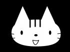 かわいい猫の白黒イラスト02