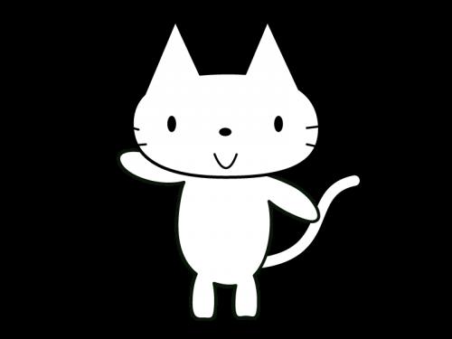 かわいい猫(全身)の白黒イラスト