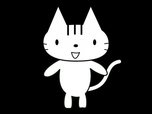 かわいい猫(全身)の白黒イラスト02