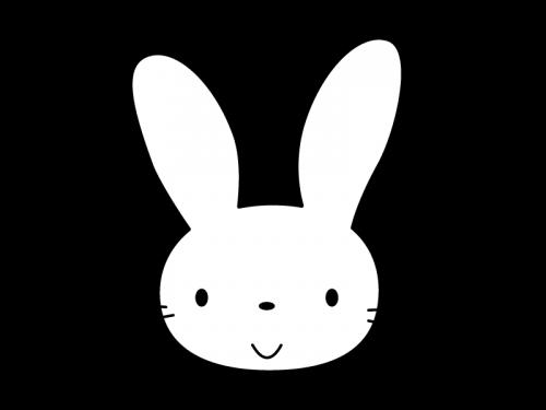 かわいいうさぎの白黒イラスト