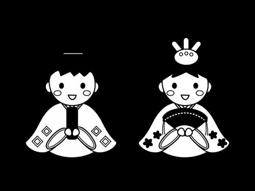 ひな人形を格好をする子供達の白黒イラスト