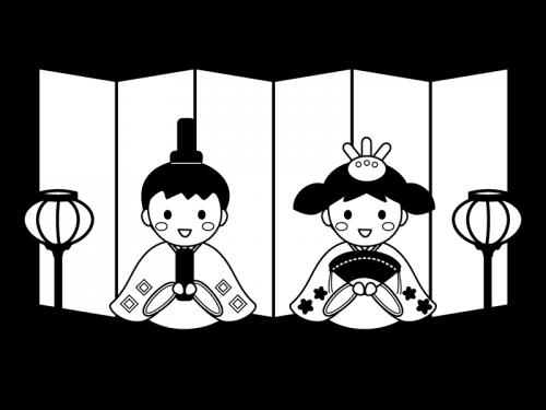 ひな人形を格好をする子供達の白黒イラスト02