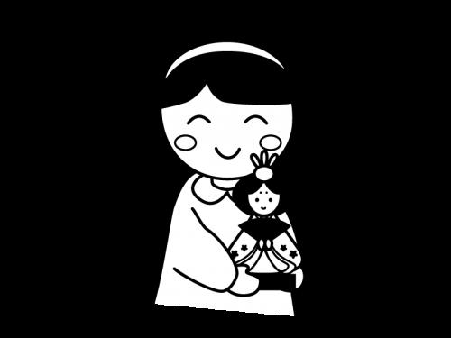 ひな人形を出す子供の白黒イラスト