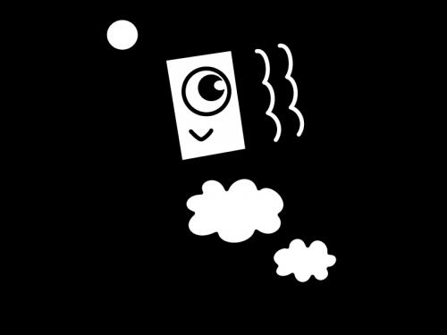 子供の日・鯉のぼりの白黒イラスト