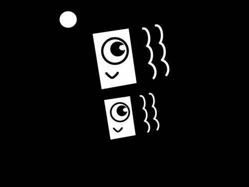 子供の日・鯉のぼりの白黒イラスト02