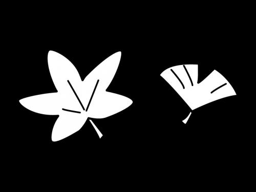 もみじ・いちょうの白黒イラスト