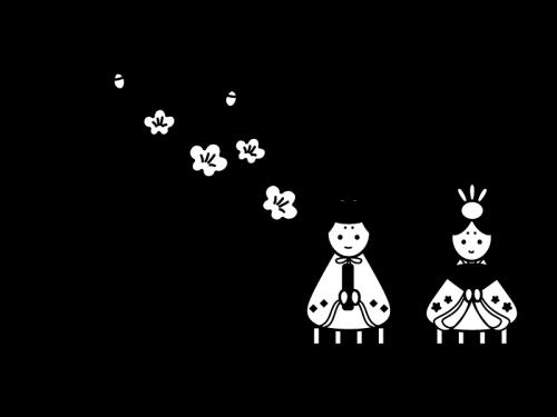 3月タイトルひな祭りの白黒イラスト02 かわいい無料の白黒イラスト