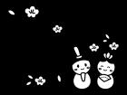 3月タイトル・ひな祭りの白黒イラスト03