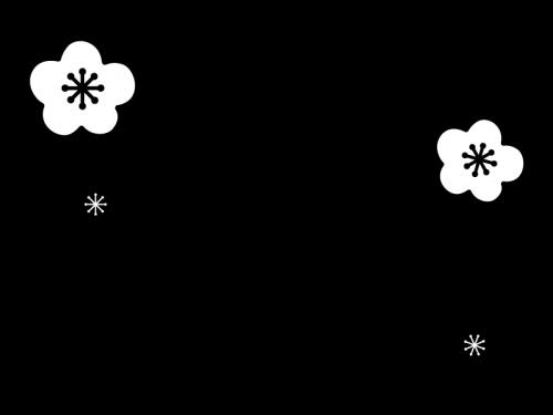 3月タイトル・梅の花の白黒イラスト
