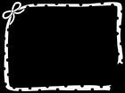 水玉模様のリボンのフレーム・枠の白黒イラスト