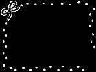 水玉模様のリボンのフレーム・枠の白黒イラスト02