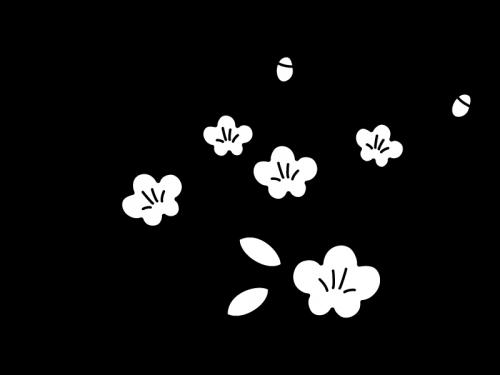 桃の花の白黒イラスト
