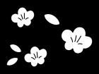 桃の花の白黒イラスト02