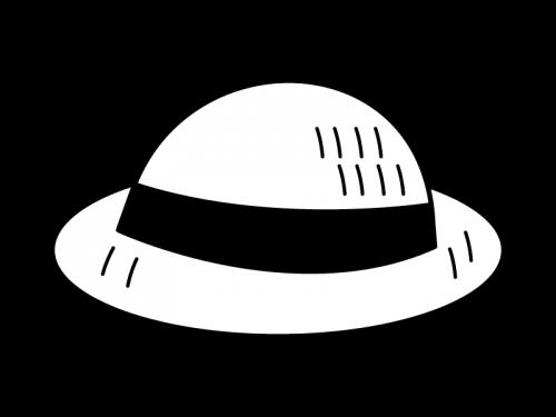 麦わら帽子の白黒イラスト