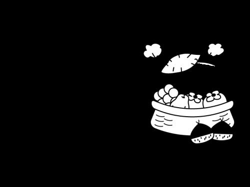 11月タイトル・秋の味覚と焼きいもの白黒イラスト