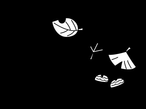 11月タイトル・紅葉とドングリの白黒イラスト