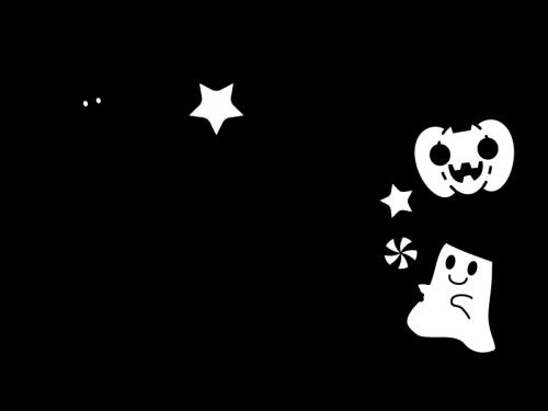 10月タイトル・ハロウィンの白黒イラスト