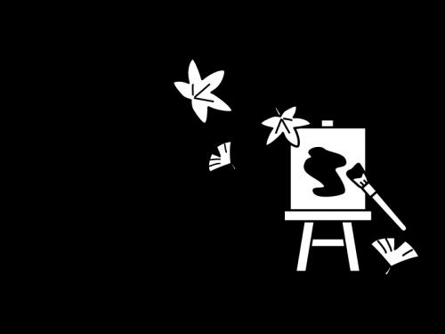 10月タイトル・芸術の秋の白黒イラスト02