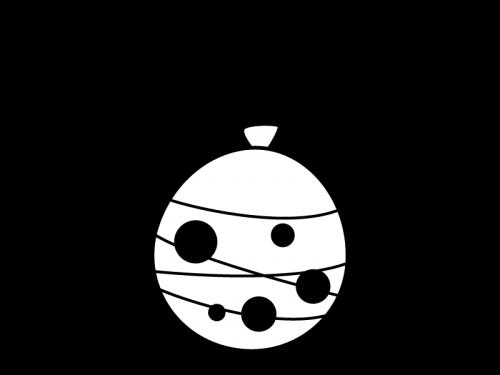 水風船のヨーヨーの白黒イラスト