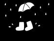 梅雨・水たまりと長靴の白黒イラスト