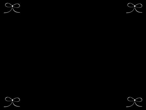 リボンのフレーム枠の白黒イラスト02 かわいい無料の白黒イラスト