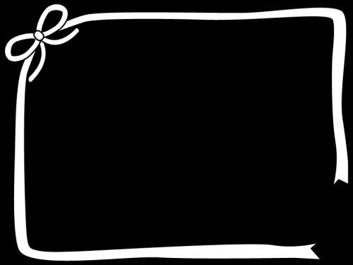 リボンのフレーム・枠の白黒イラスト03