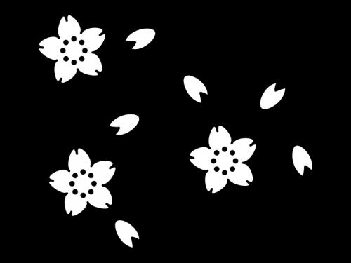 桜の花びらの白黒イラスト02 かわいい無料の白黒イラスト モノぽっと
