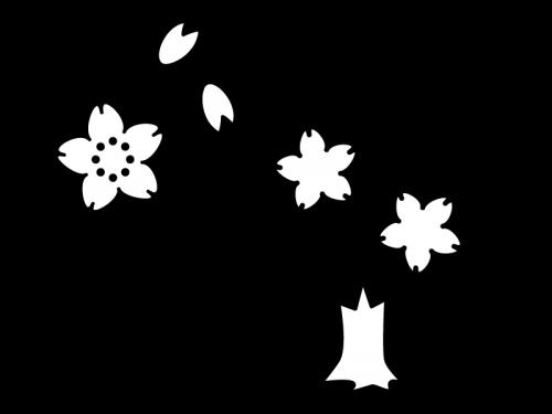 桜の木の白黒イラスト かわいい無料の白黒イラスト モノぽっと