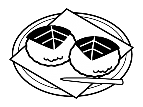 お皿にのった桜餅・道明寺の白黒イラスト