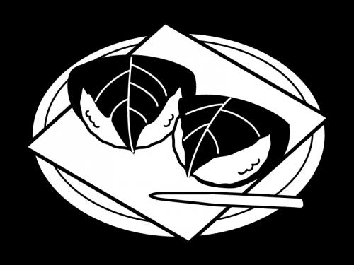 お皿にのった桜餅・道明寺の白黒イラスト02