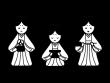 ひな祭り・三人官女の白黒イラスト