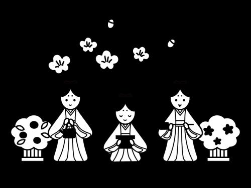 ひな祭り・三人官女の白黒イラスト02