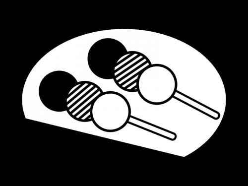 三色団子の白黒イラスト02